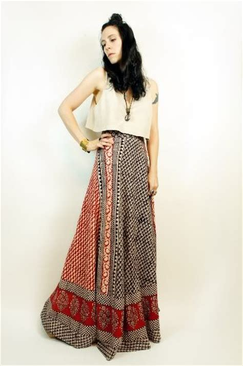 Wilatika Ethnic Warp Maxi Skirt vtg 70s ethnic cotton batik india boho festival maxi wrap skirt dress os festivals wrap