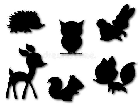 woodland silhouette l shade set of cute animals silhouette vector stock vector