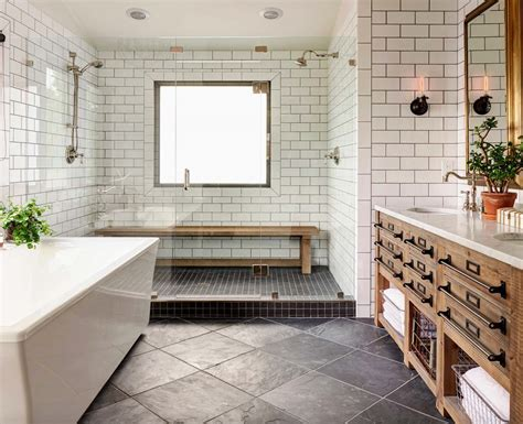 Decor Tiles And Floors by 21 Gorgeous Farmhouse Style Bathrooms You Will Love