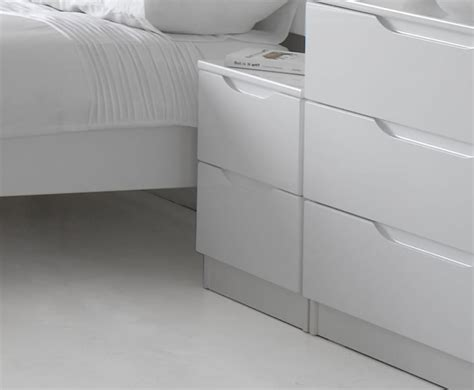 White High Gloss Bedside Drawers by Trend 2 Drawer White High Gloss Bedside Chest