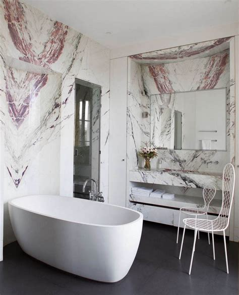 Mirrored Chandelier Luxury Marble Bathrooms