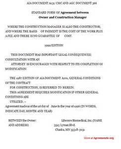 Construction Management Agreement Template Agreement Between Owner And Construction Manager Sample