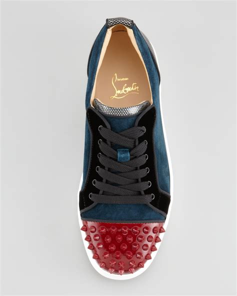 christian louboutin louis junior spikes low top sneaker in blue for lyst