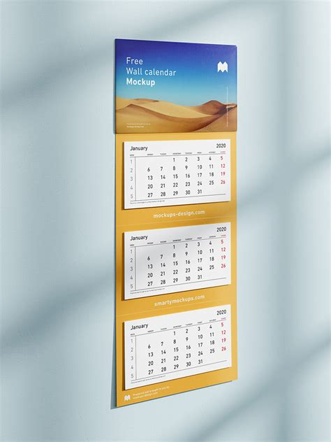 panel wall calendar mockup mockups design  premium mockups