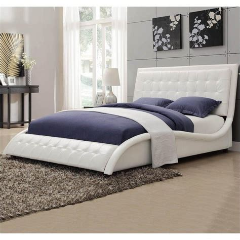 white upholstered queen bed coaster tully upholstered queen bed in white vinyl 300372q