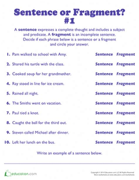 Free Sentence Fragment Worksheets by Worksheets Education