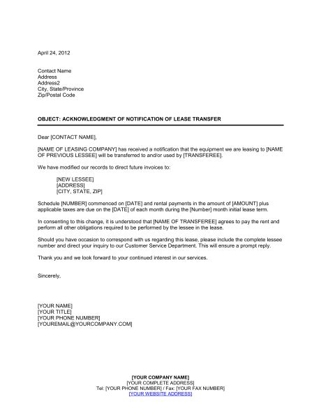 Lease Agreement Transfer Letter how to write a letter to transfer car ownership letter
