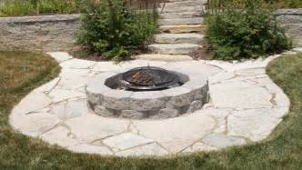 Flagstone Patio With Firepit Weilbacher Landscaping Paver Flagstone Patios And Walkways