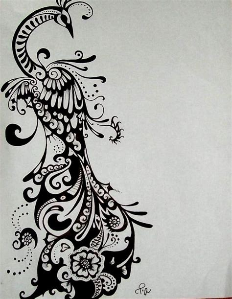 black and white henna tattoo designs reserved for torreclark peacock drawing ink design