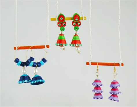 How To Make Paper Jhumkas At Home - paper quilling jhumkas tutorial quill on
