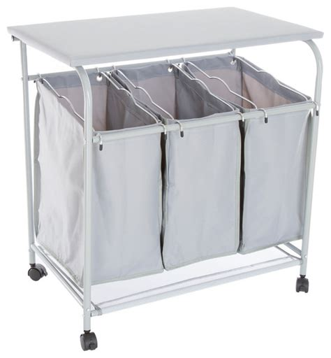 Rolling 3 Bin Laundry Sorter And Ironing Station Gray Three Bin Laundry