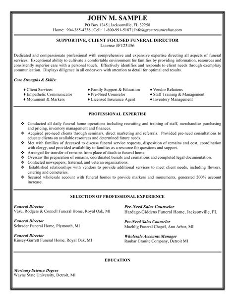 funeral director resume sales executive resume sle