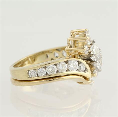 engagement ring wedding band 14k gold marquise