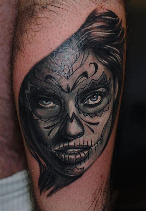 skull girl tattoo skull muerte west ink
