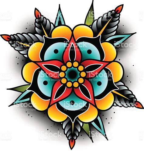 old school tattoo ventura old school tattoo flower stock vector art 636625824 istock