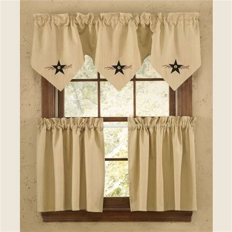 lined country curtains star vine lined triple point valance valance curtains
