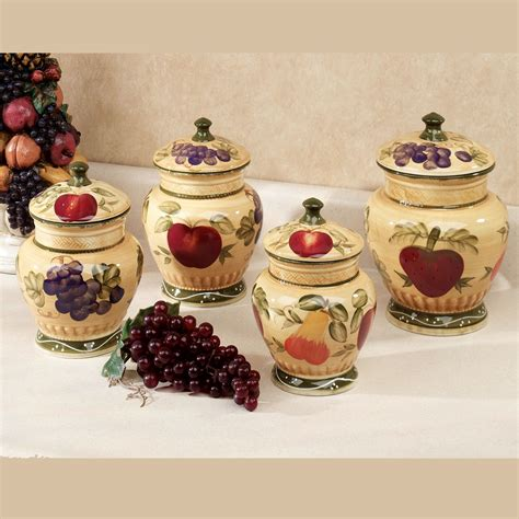 kitchen canisters set of 4 european fruit kitchen canister set