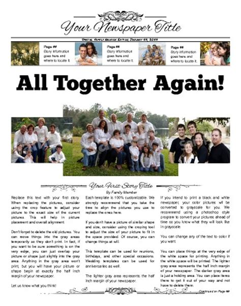 Front Page 3 Column Family Newspaper Template