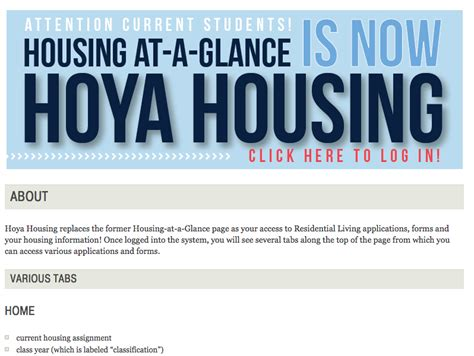 georgetown housing at a glance office of residential living introduces hoya housing portal