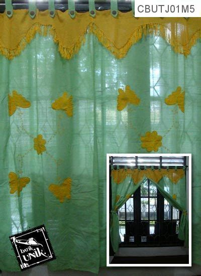 Tirai Benang Motif Kupu Kupu Cantik Murah gorden jendela sambung tenun motif kupu tari tirai jendela murah batikunik