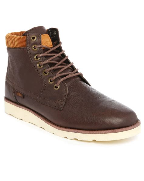 vans boots vans breton leather ankle boots in brown for lyst