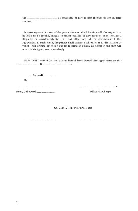 Agreement Letter Tagalog Memorandum Of Agreement Sle