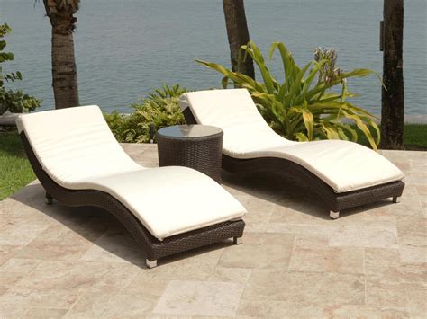 outdoor wicker chaise lounge source outdoor wave 3 piece wicker chaise lounge set