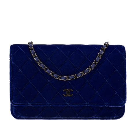 Sale Tas Wanita Lv Classic Woc chanel electric blue velvet classic quilted wallet on chain woc world s best