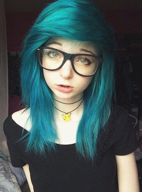 Dyed Emo Hairstyles | pretty hair i love the color also i love her pikachu