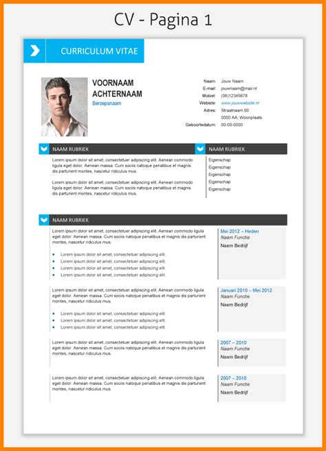 layout nederlands 12 template cv word gratuit lettre officielle