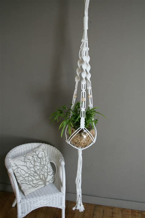 Flower Hanger - white macrame plant hanger the knot studio