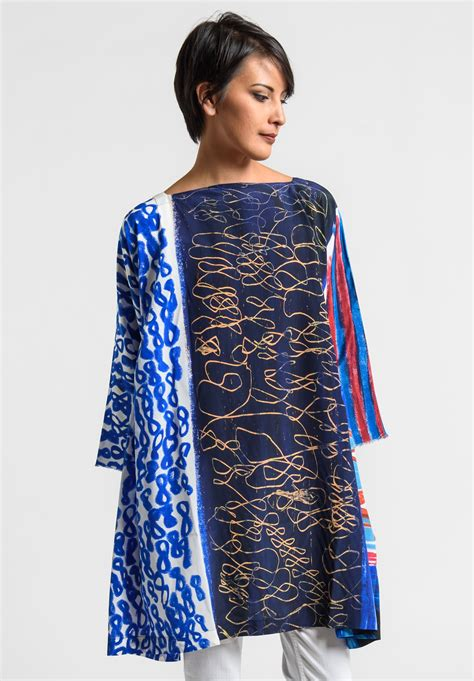 daniela gregis special print silk tunic dress in blue santa fe goods trippen rundholz