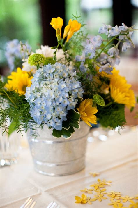 tin buckets for centerpieces tin pail wedding centerpiece flower arrangements