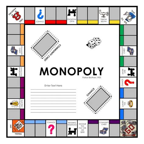 Laurie Callison S Visual Vocabulary Free Quickfill Monopoly Template To Use In Storybook Monopoly Board Template Pdf