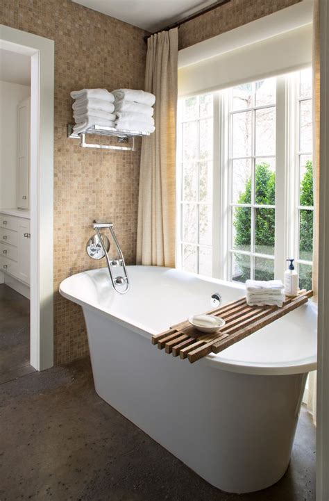 wall mount tub bathroom transitional with windows by