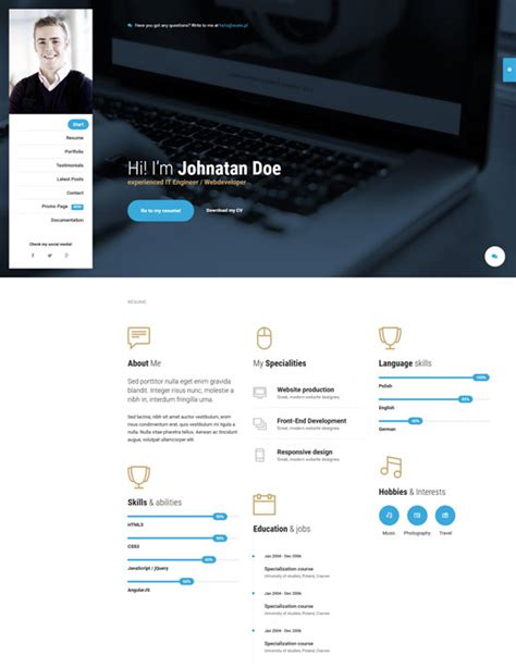 personal website resume 20 best cv resume and personal portfolio html templates