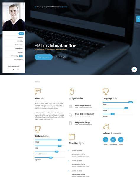 20 best cv resume and personal portfolio html templates