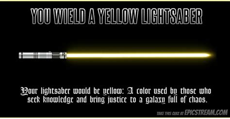 what is my lightsaber color my lightsaber is yellow which color of lightsaber would