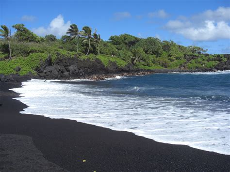 beach with black sand black sand beach in hana techhui