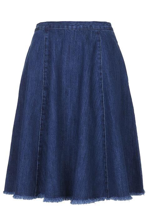 Blue Midi Denim Skirt Sml 41078 lyst topshop moto denim fray hem midi skirt indigo in blue