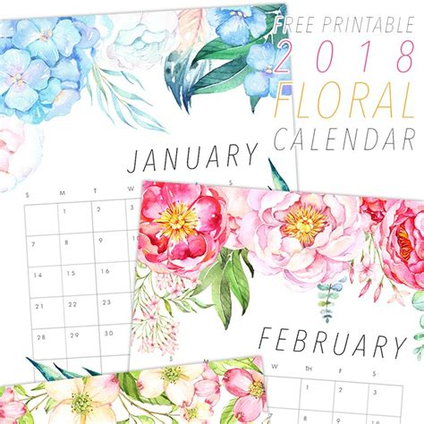 printable calendar with flowers free printable 2018 floral calendar free printable