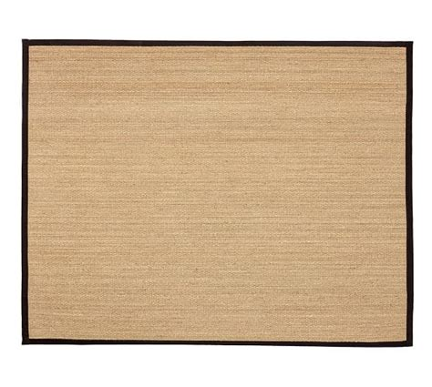 Custom Bound Area Rugs Fibreworks 174 Custom Color Bound Seagrass Rug Black Pottery Barn