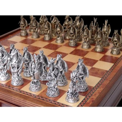 dragon chess set dal rossi italy mystical dragon chess set pewter 95mm on