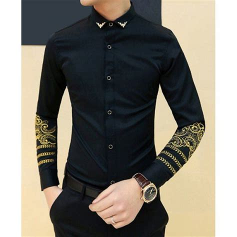 Embellished Sleeve Shirt fashion metal embellished turn collar slimming