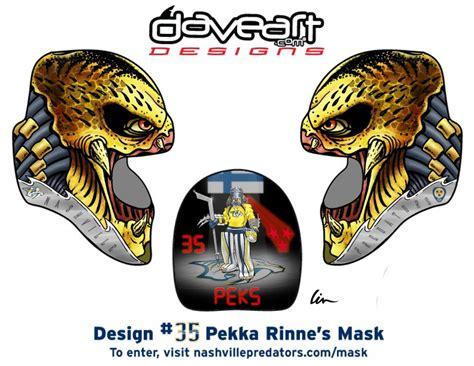 goalie mask painting template predator hockey mask design contest pekka rinne as preda