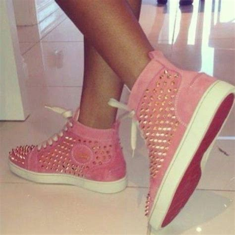 shoes louboutin pink bottoms spikes high top