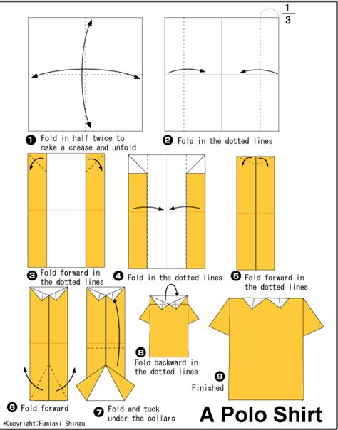 Origami Shirt Folding - origami one polo shirt papier