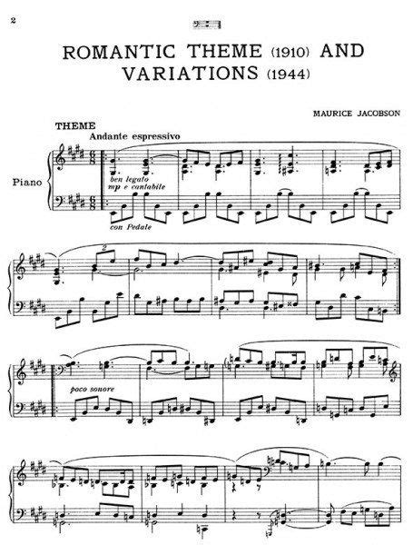 definition theme and variations in music maurice jacobson piano sheet music
