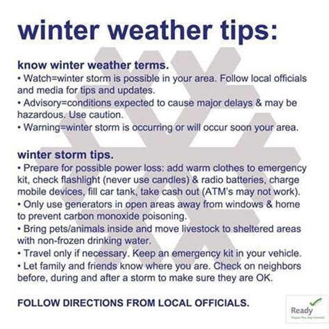 winter survival be prepared for water and electricity systems collapse books graphic winter weather tips and terms to fema gov