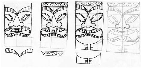 tiki hut drawing stitchlily how to draw a tiki head